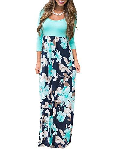a85aaa643a DUNEA Women's Maxi Dress Floral Printed Autumn 3/4 Sleeve Casual Tunic Long  Maxi Dress