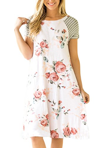 a65e3342190 MEROKEETY Women s Striped Floral Print 3 4 Sleeve Tie Waist Maxi ...