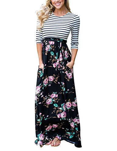 55acc6069289d3 MEROKEETY Women s Striped Floral Print 3 4 Sleeve Tie Waist Maxi Dress With  Pockets