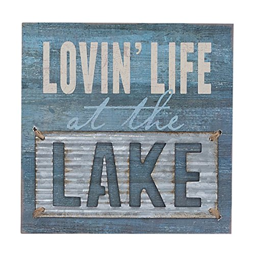 Lovin\' Life at the Lake Box Wall Art Sign, Primitive Lake House Home ...
