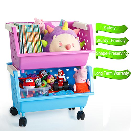 MAGDESIGNER 2 Baskets Kids\' Toy Storage Organizer with Wheels Can ...