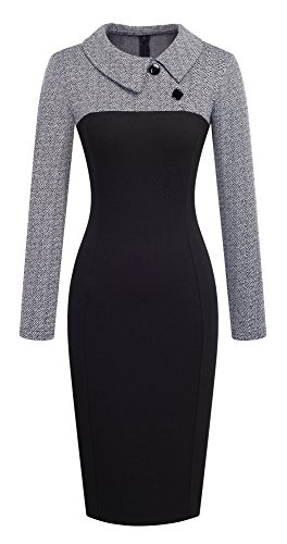 d07ea48a155 WOOSEA Women s 2 3 Sleeve Colorblock Slim Bodycon Wear to Work ...