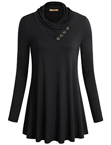 5a6c33afd7 Miusey Women s Long Sleeve Cowl Neck Form Fitting Casual Tunic Top Blouse