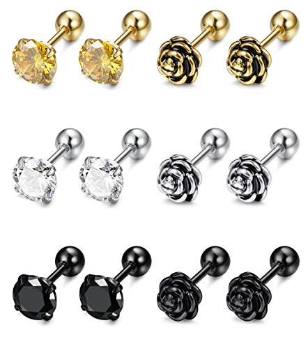 252dd4241 FIBO STEEL 6 Pairs 16G Stainless Steel Flower Cartilage Stud Earrings for  Men Women Helix tragus Daith Cartilage Piercing Jewelry